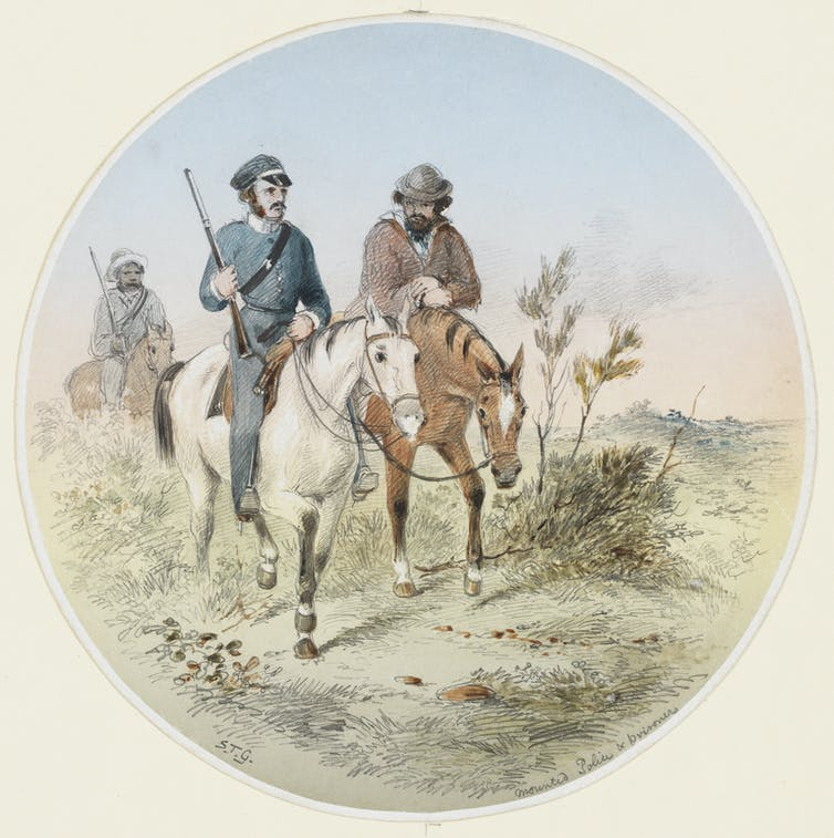 Mounted Police and prisoner, 1840-1872, Samuel Thomas Gill