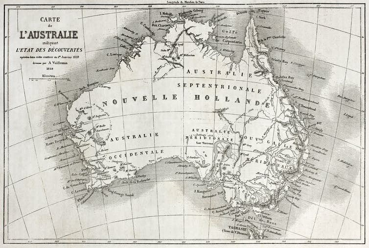Old map of Australia with Nouvelle Hollande written across the landmass.