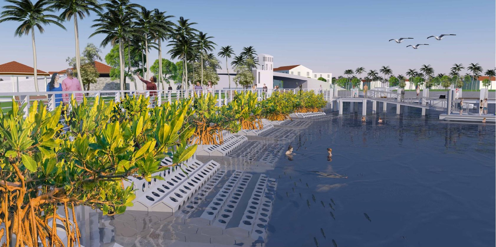 An artist's rendering of hybrid coastal protection showing people swimming near the structure and walking on a path behind it.