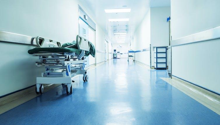 Hospital trolley in a corridor.