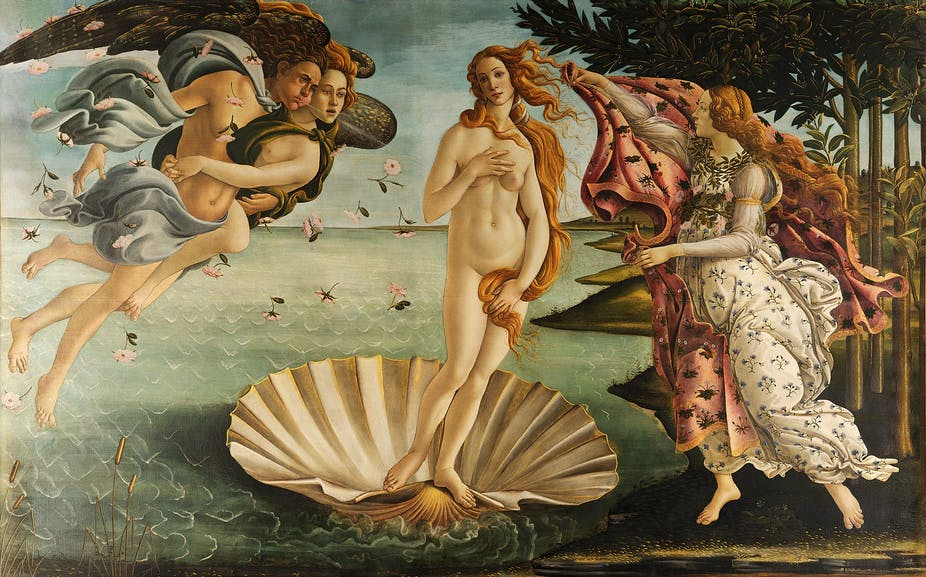 Naked woman in shell surrounded by an angels and other women.