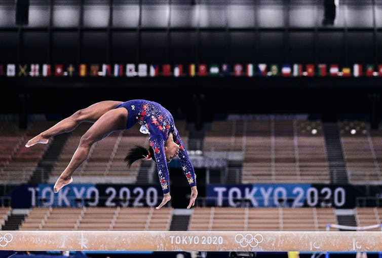 US gymnast Simone Biles during the women's qualification for the Artistic Gymnastics final at Olympic games in the Ariake Gymnastics Centre, Tokyo, Japan