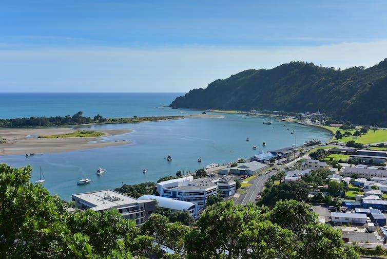 Whakatane township with harbour