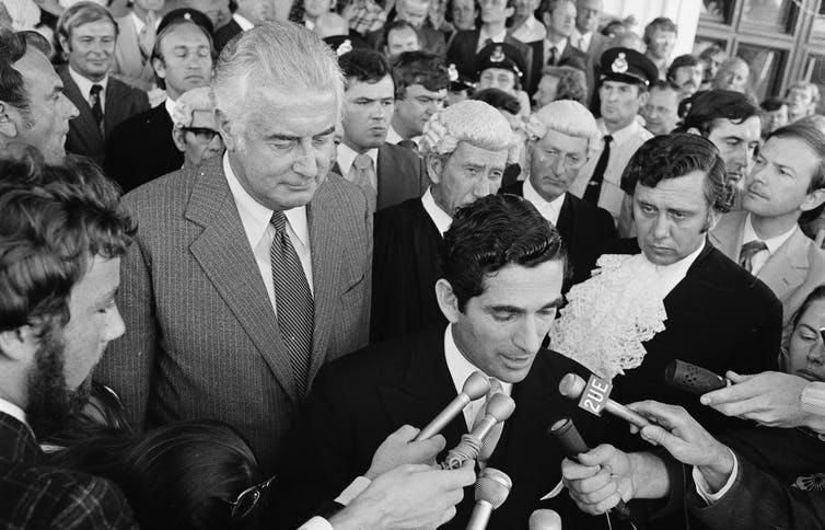 Gough Whitlam and demonstrators  at the dissolution of parliament in 1975.