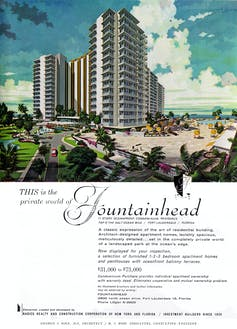 Old-fashioned ad for the beachfront Fountainhead condo in Ft. Lauderdale, Fla.