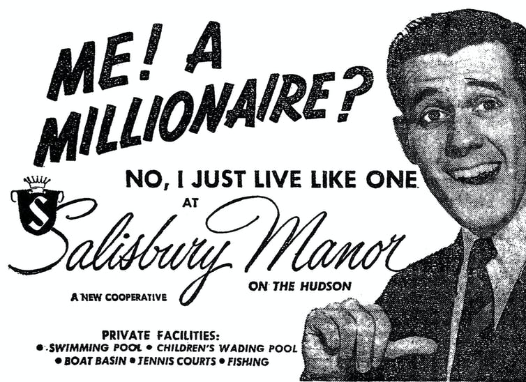 An old-fashioned advertisement for co-op apartments featuring a man in a suit and tie