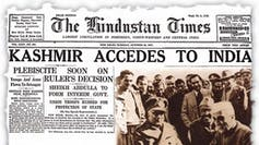 Newspaper clipping from the Hindustani Times with headline 'KASHMIR ACCEDES TO INDIA'