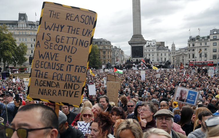 A protest against coronavirus restrictions in Trafalgar Square, London, September 26 2020.