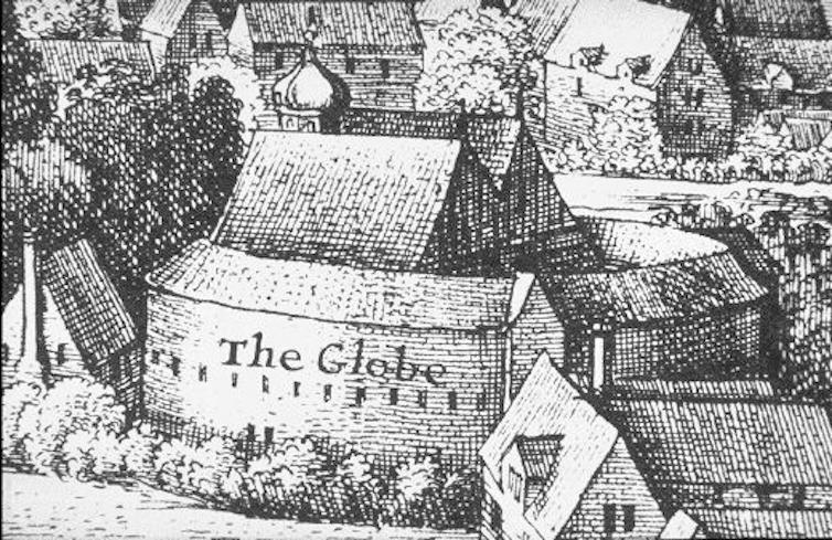 Illustration of the original Globe Theatre.