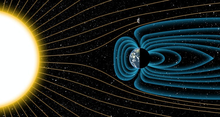 A diagram showing lines of solar radiation being deflected away by the Earth's magnetic field but hitting the Moon.