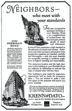 An old-fashioned advertisement for co-op apartments that emphasized how 'refined' its residents were