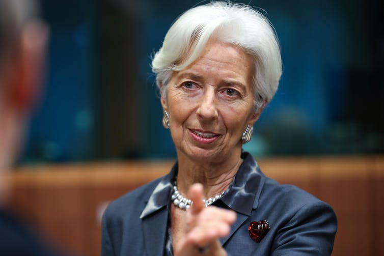 Christine Lagarde answering questions in a press conference