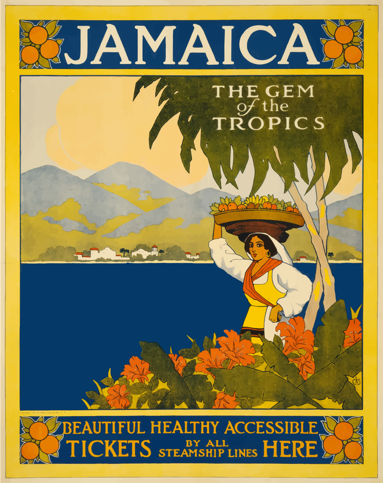An image of a tourist poster advertising Jamaica as a destination