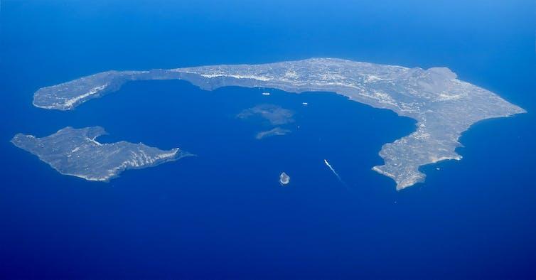 aerial view of Santorini Caldera