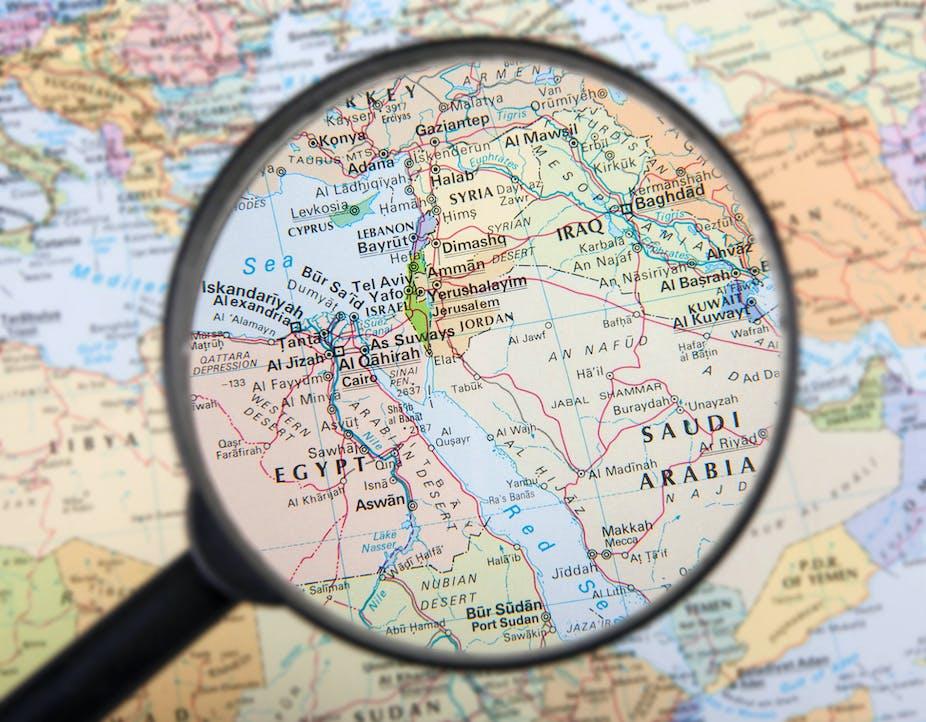 La carte du Moyen-Orient sous loupe