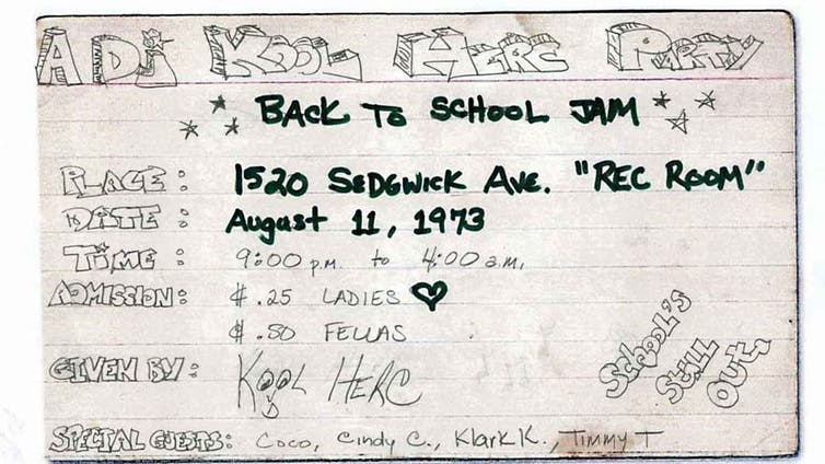 Flyer for the Back to School Jam hosted by DJ Kool Herc