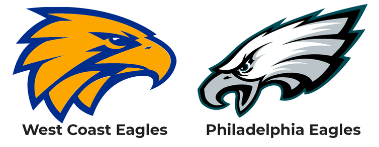 The logos of the AFL's West Coast Eagles and the NFL's Philadelphia Eagles