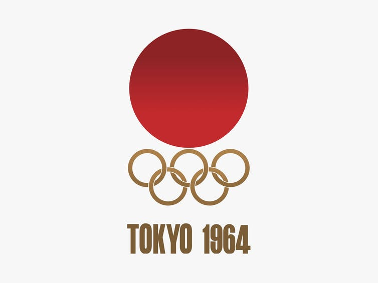 Japan rising sun on top of Olympic rings.