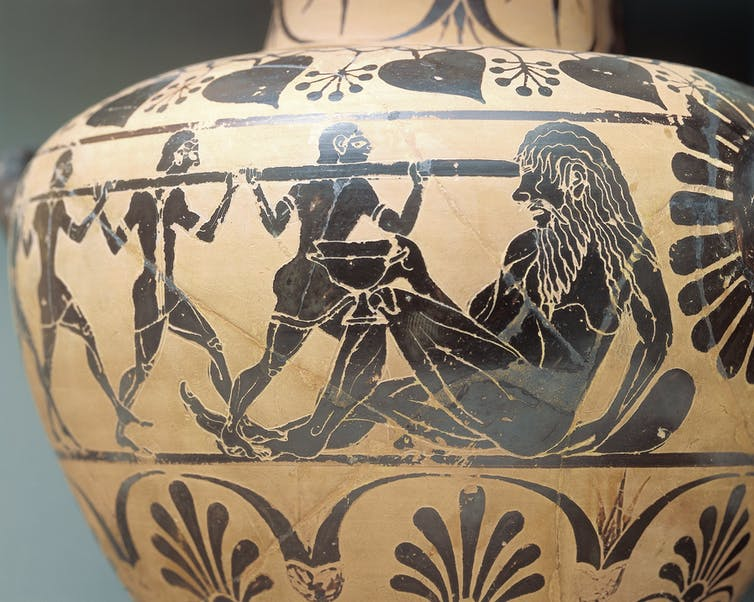 Etruscan pottery with black figures blinding the cyclops with a spear