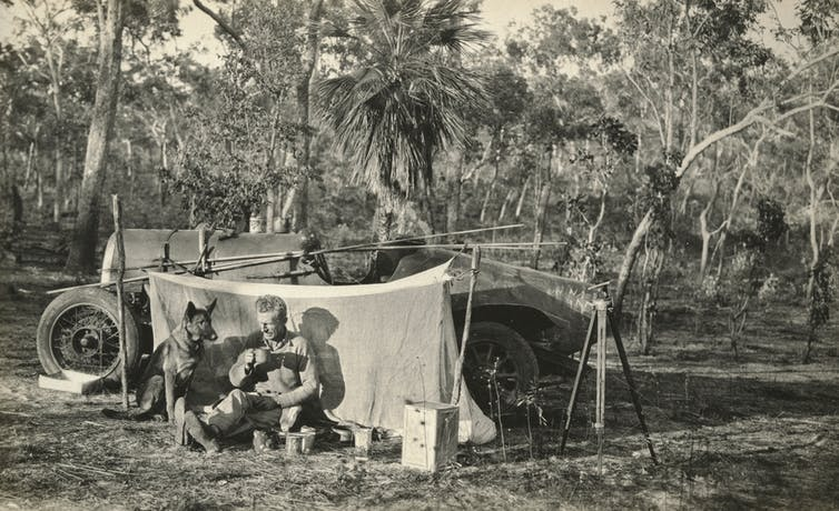 black and white photo of outback camp