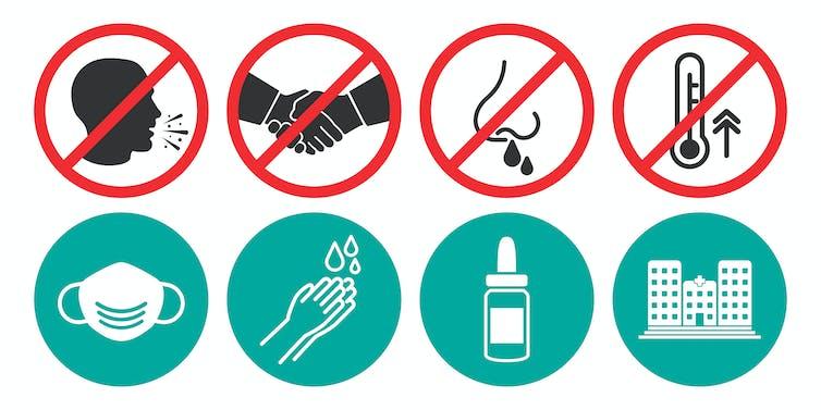 Ne pas tousser, se serrer la main, etc. Mais porter le masque, se laver les mains… sont de bons moyens d'écarte le virus