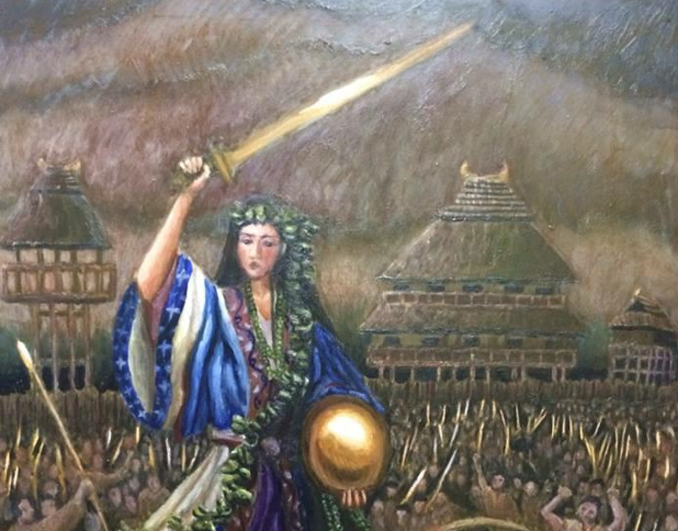 A woman in a blue robe, wielding a sword and carrying an orb, surrounded by soldiers with Japanese houses in the background.