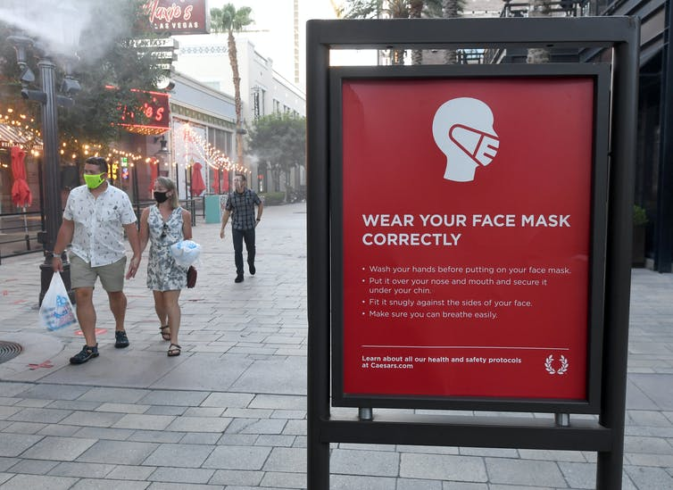 Health and safety sign on how to properly wear face masks