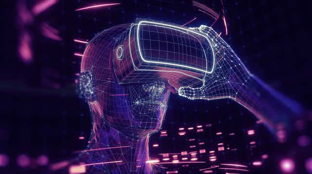 Virtual depiction of a person wearing a VR headset