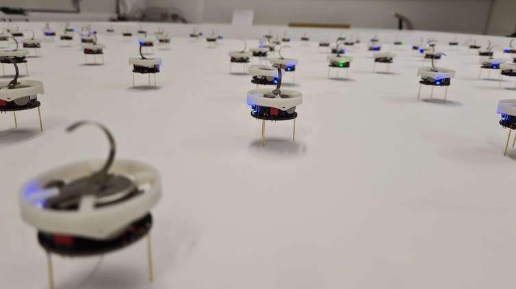 Several dozen small plastic discs containing electronics and perched on metal wire legs are spread across a smooth featureless surface
