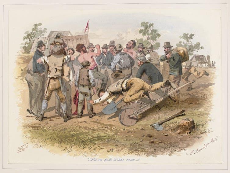 drawing of men fighting