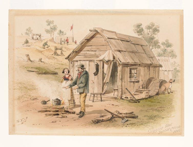 bark hut on goldfields