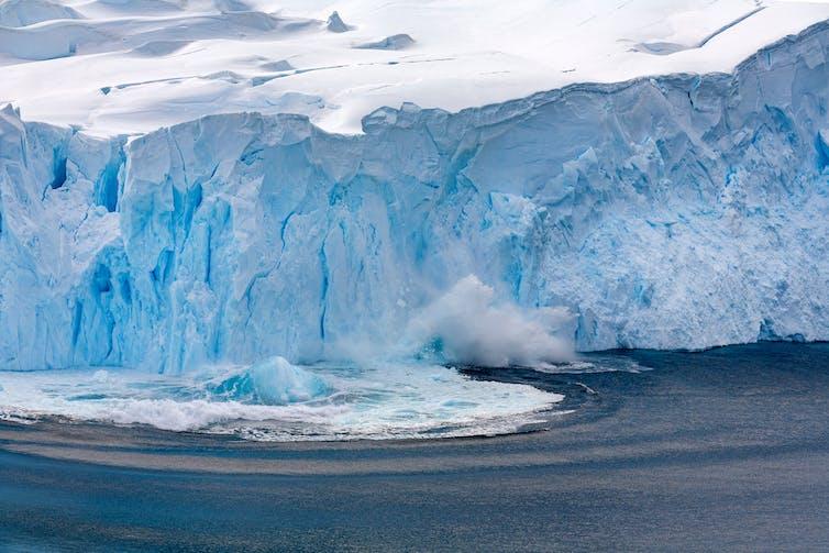 Glacier calving on the Antarctic Peninsula.