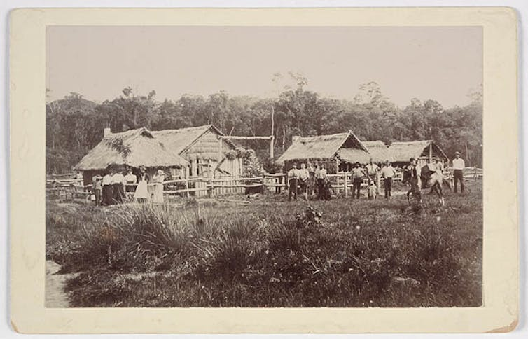 black and white photo of huts