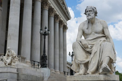 Statue of Greek historian Thucydides in front of the Austrian parliament in Vienna