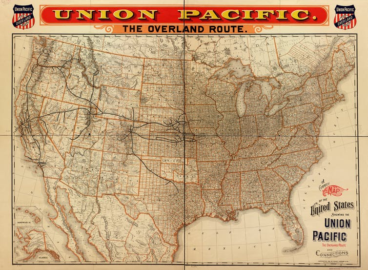 A map of the United States with railroad routes marked, crisscrossing the country.