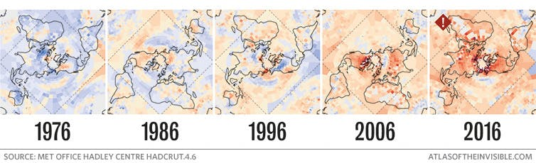 A visualisation of increasing global temperatures from 1976-2016, from Atlas of the Invisible.
