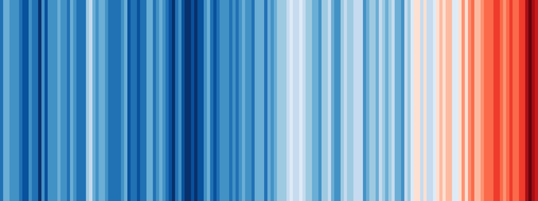 A series of stripes, shifting from blue on the left to red on the right, represents warming global temperatures over time.