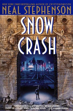 A book cover with a graphical representation of a massive stone gate with a pair of large unicorn friezes on either side, a futuristic cityscape on the far side of the gate and a male figure standing in the gate facing the city with a sword raised over hi