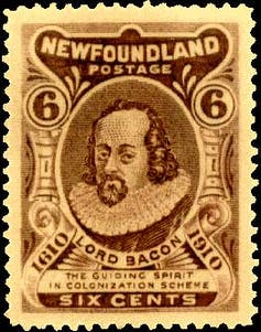 A 1910 Newfoundland stamp reading 'Lord Bacon, the guiding spirit in colonization scheme.'