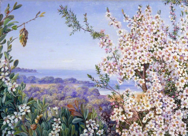 painting of flowers and landscape
