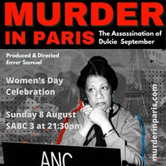 The words 'Murder in Paris' in red above an image of a woman and details of a film screening.