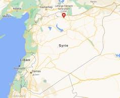 Localisation de la cimenterie de Lafarge en Syrie. Capture d'écran Google maps.