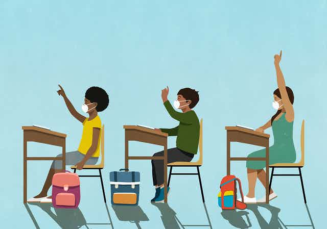 Cartoon illustration of three students sitting at desks with backpacks and raising their hands