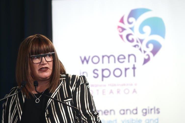 Raelene Caste speaking at a women in sport event