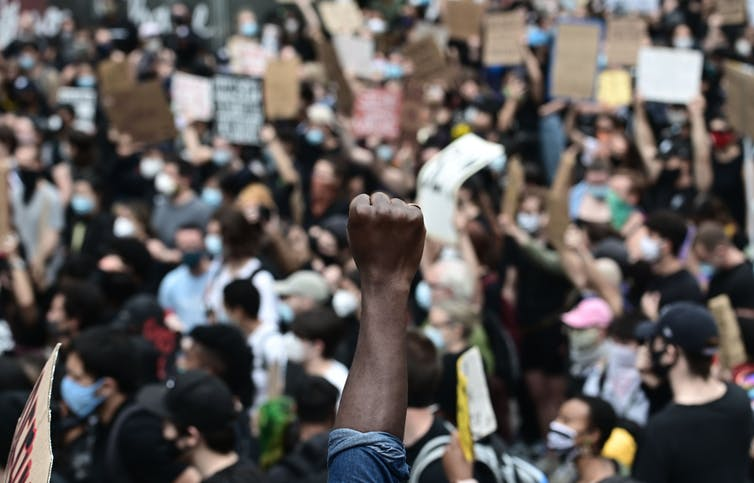Racial justice protestors in New York City.