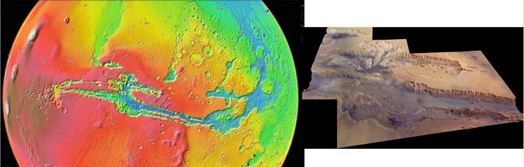 Image of Marineris seen in a colour-coded topographic view.
