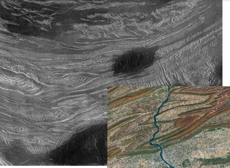 Image of the fold mountains on Venus.