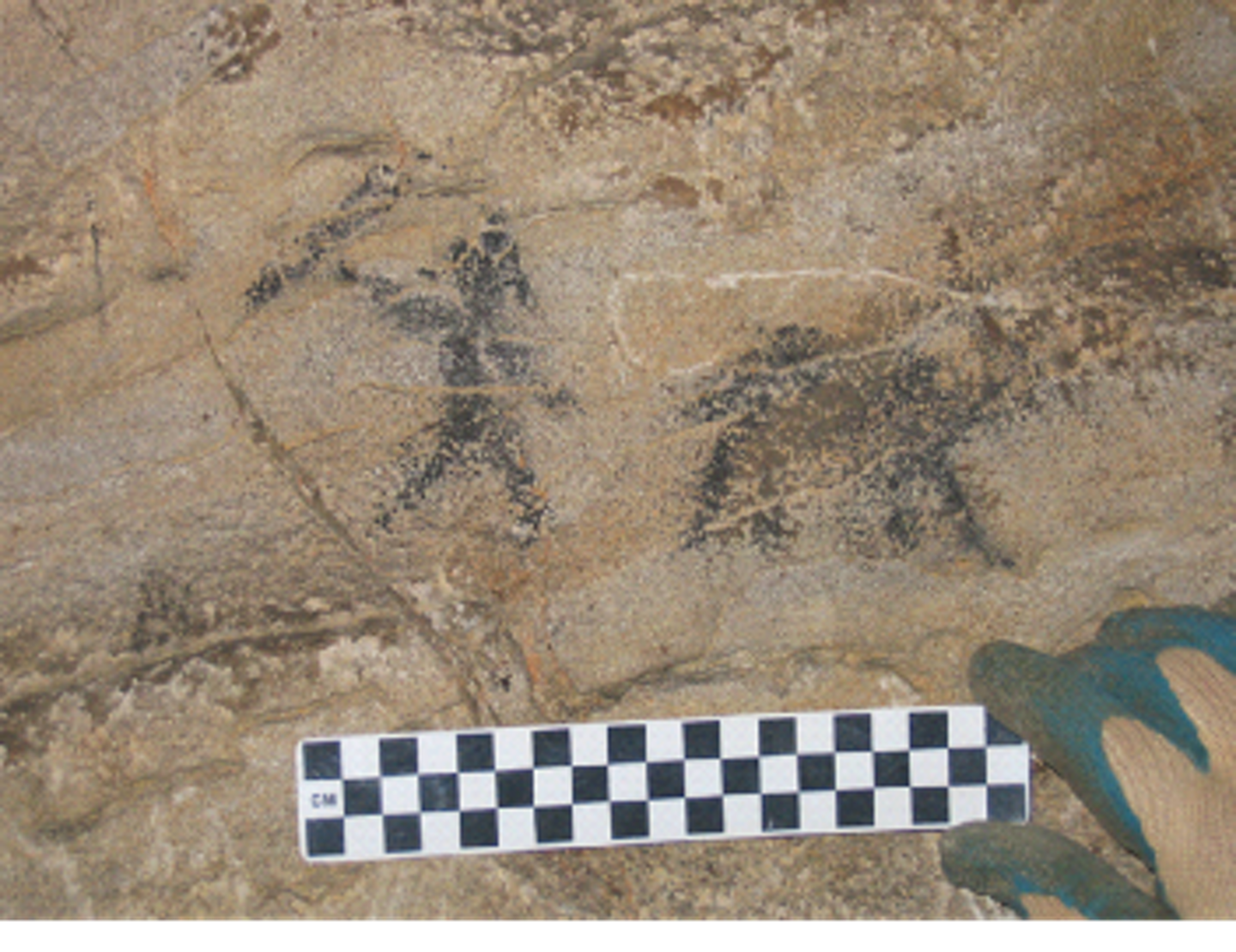 dark silhouette figures of a human and a quadruped on stone