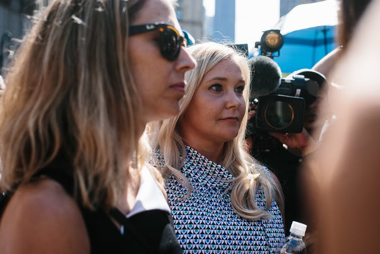 Virginia Giuffre outside a US court in 2019.