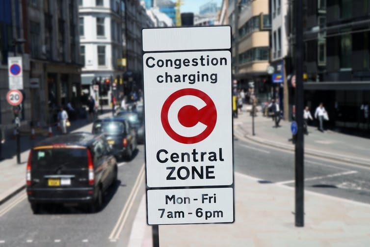 Congestion charging sign in London street